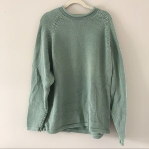 LL Bean Mens Sage Green Chunky Knit Sweater